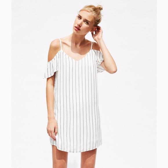 370069745a2d2 Bershka Dresses | Cold Shoulder Pinstripe Slip Dress Small | Poshmark